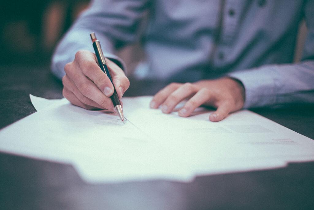 Man preparing cover letter